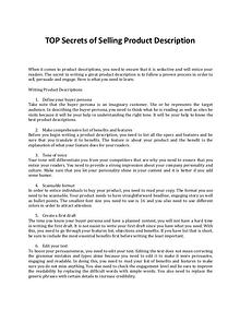 Discover the Secrets of Selling Product Description