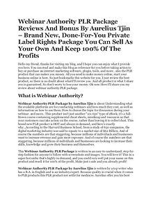 Webinar Authority PLR Package - Done For You Product by Aurelius Tjin