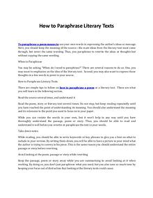 Discover the Best Ways on How to Paraphrase Literary Texts