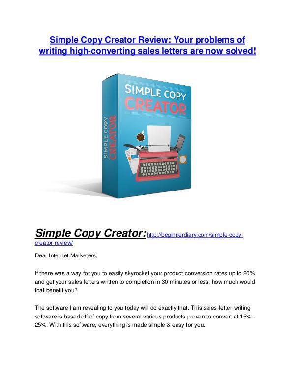 Simple Copy Creator review - Simple Copy Creator +100 bonus items