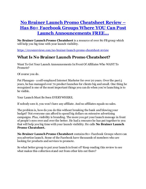 No Brainer Launch Promo Cheatsheet review & bonus