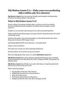 HQ Motion Assets V.2 review & (GIANT) $24,700 bonus