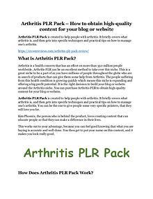 Arthritis PLR Pack Review - MASSIVE $23,800 BONUSES NOW!