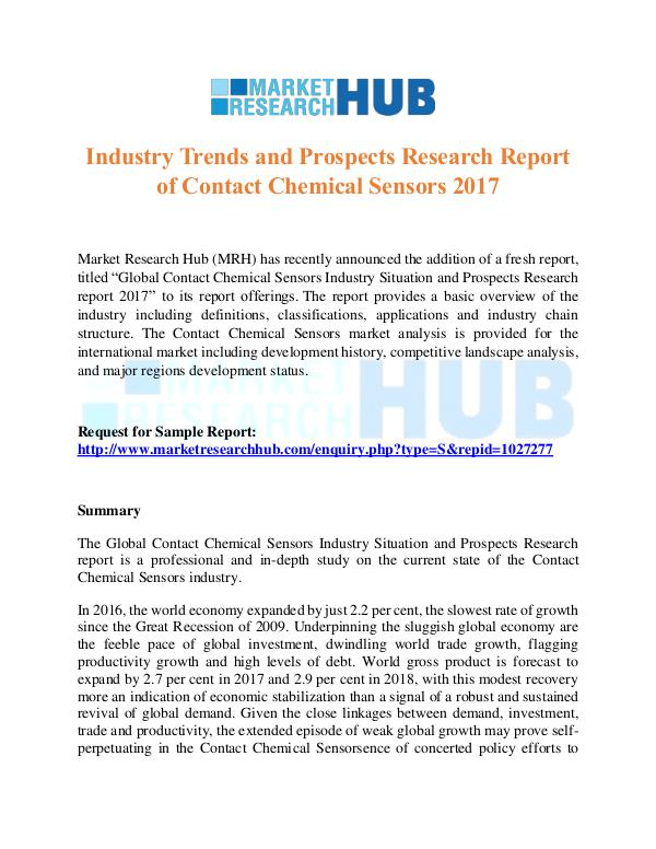 Market Research Report Contact Chemical Sensors Market Report 2017