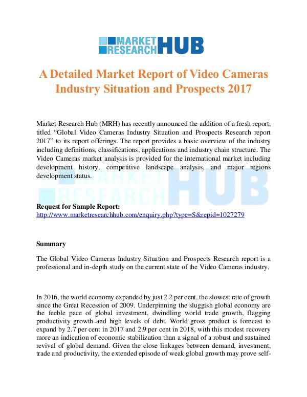 Market Research Report Video Cameras Industry Situation Market Report