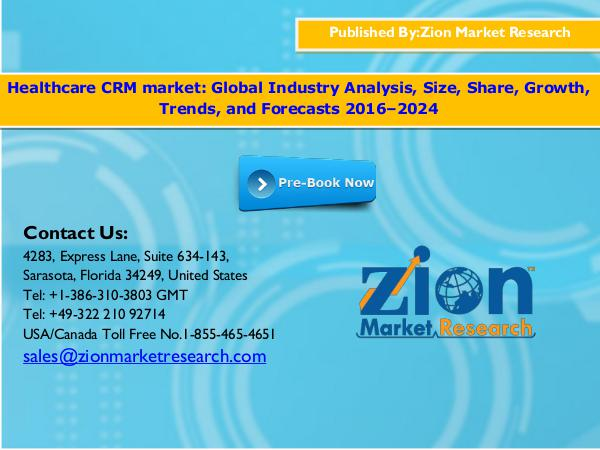 Zion Market Research Global Healthcare CRM Market Size, 2016–2024