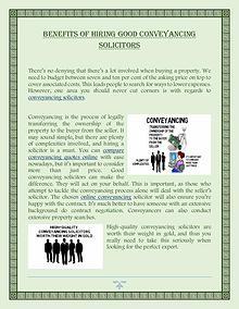 Benefits Of Hiring Good Conveyancing Solicitors