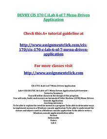 DEVRY CIS 170 Entire CourseDEVRY CIS 170 Entire Course