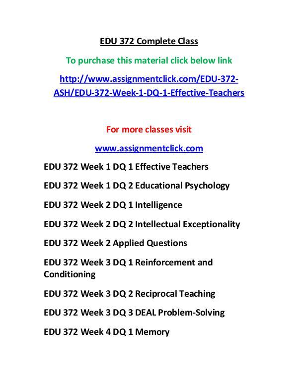 ASHEDU 372 entire course EDU 372 Complete Class