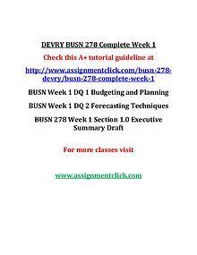 DEVRY BUSN 278 Entire Course