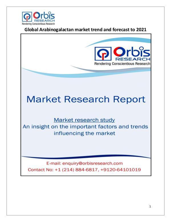 Research Report : Global Arabinogalactan Market 2021