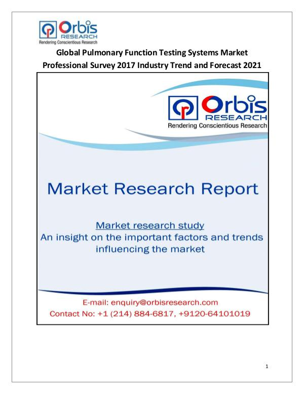 Research Report : Global Pulmonary Function Testing Systems Market P
