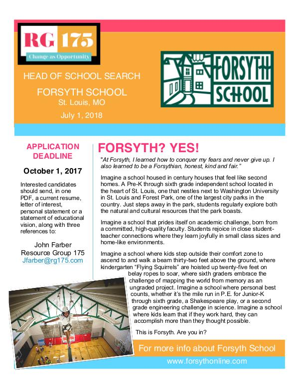 Forsyth School Head Search Position Statement FORSYTH PS as of August 30