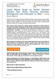 Market Watch - Global Titanium Industry 2016