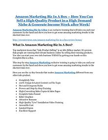 Amazon Marketing Biz In A Box review and (SECRET) $13600 bonus