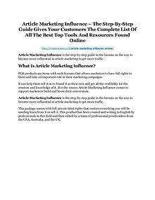Article Marketing Influence Review and Premium $14,700 Bonus