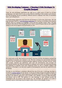 Web Developing Company - Choosing A Web Developer Vs Graphic Designer
