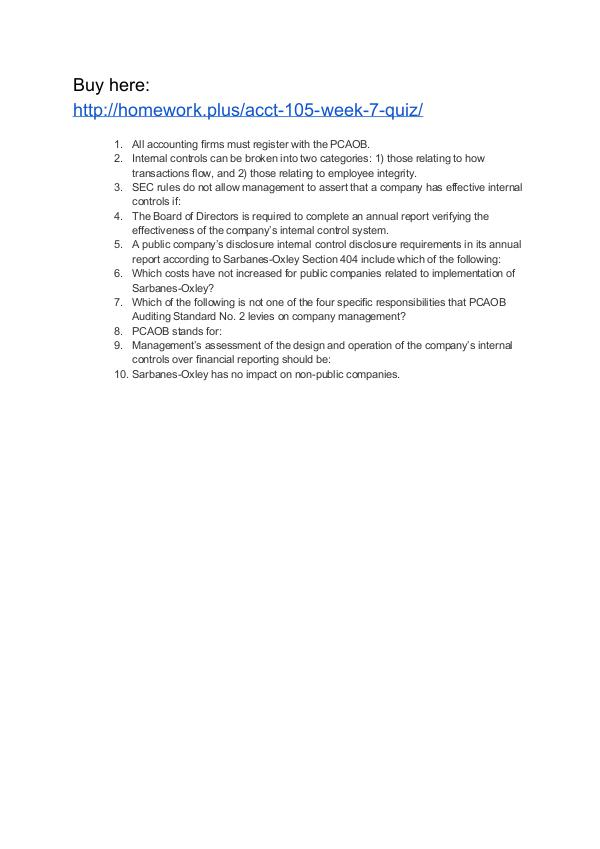 ACCT 105 Week 7 Quiz ACCT 105 Week 7 Quiz
