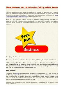 Home Business - Post 100 % free Ads Quickly and Get Results
