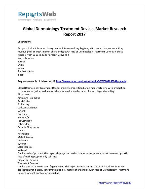 Market Analysis 2017 Dermatology Treatment Devices Market