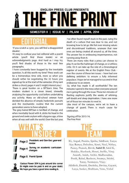 Issue 4, April 2014
