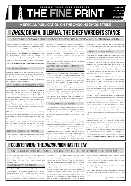 Special Issue - Dhobi Strike