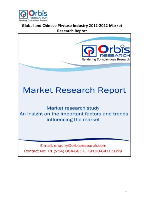 Market Report Study 2022 Global & Chinese Phytase Industry