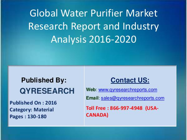 Water Purifier Industry 2016 Overview, Size, Share | Market Analysis 4