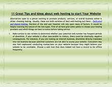 11 Great Tips and Ideas about web hosting to start Your Website