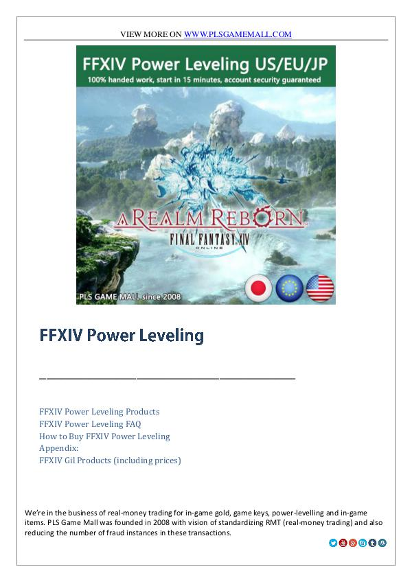 Buy FFXIV Power Leveling at best price from Pls Game Mall Buy FFXIV Power Leveling