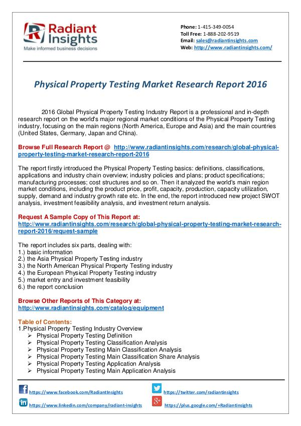 Research Analysis Reports Physical Property Testing Market