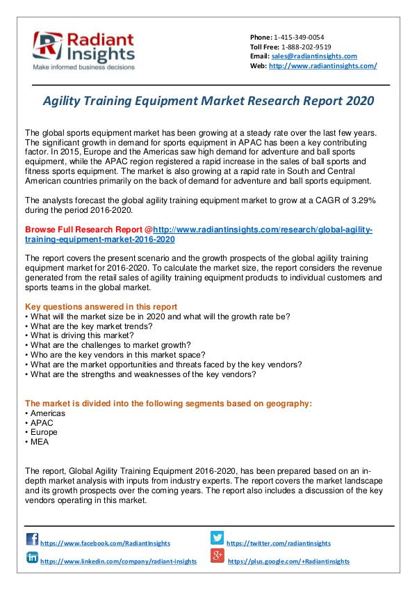 Research Analysis Reports Agility Training Equipment Market Report