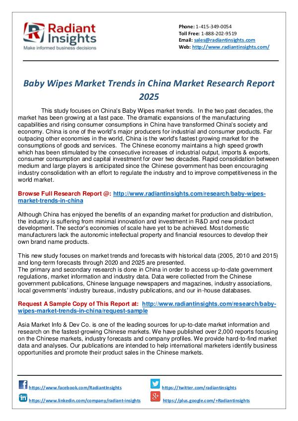 Research Analysis Reports Baby Wipes Market