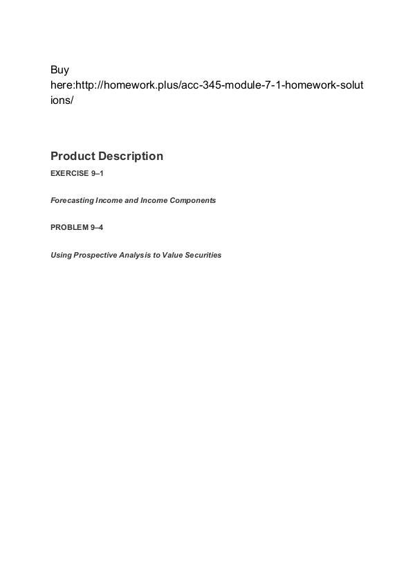 ACC 345 Module 7-1 Homework (solutions) SNHU
