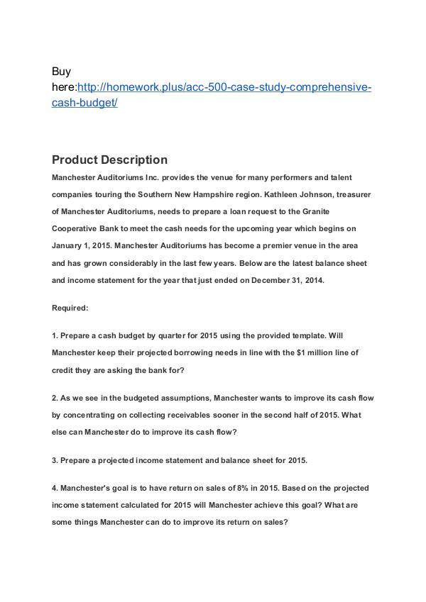 ACC 500 Case Study – Comprehensive Cash Budget SNHU