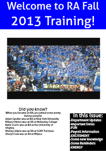 RA Newsletter Fall 2013