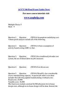 ACCT 346 Endless Education /uophelp.com