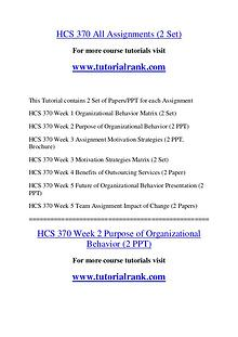 HCS 370 Course Great Wisdom / tutorialrank.com