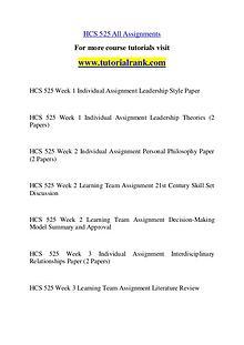 HCS 525 Course Great Wisdom / tutorialrank.com