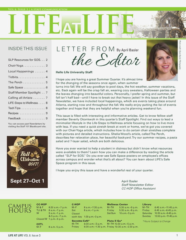 Life University Staff Council Newsletter Volume 8 Issue 3