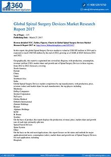 Spinal Surgery Devices Market Sales Outlook; Up-to-date Development