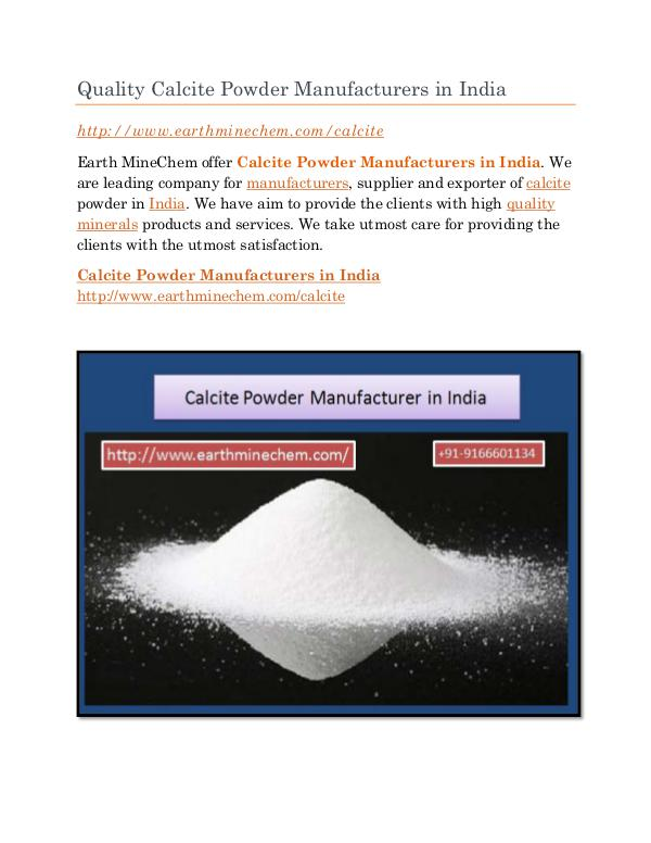 Calcite Powder Manufacturer in India Quality Calcite Powder Manufacturers in India