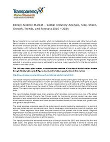 Benzyl Alcohol Global Market Analysis 2016 and Forecasts to 2024