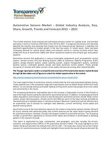 Automotive Sensors Global Market Analysis 2015 and Forecasts to 2021