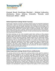 Carpet Back Coatings Market Research Report and Forecast up to 2024