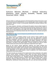 Calcium Nitrate Market 2014 Share, Trend, Segmentation and Forecast