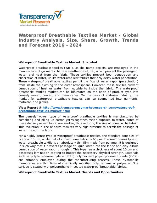 Waterproof Breathable Textiles Market 2016 Waterproof Breathable Textiles Market - Global Ind