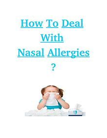 How to Deal with Nasal Allergies?