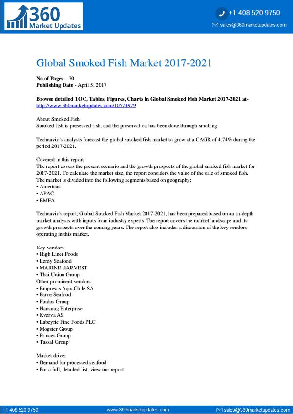 Report- Smoked Fish Market 2017-2021