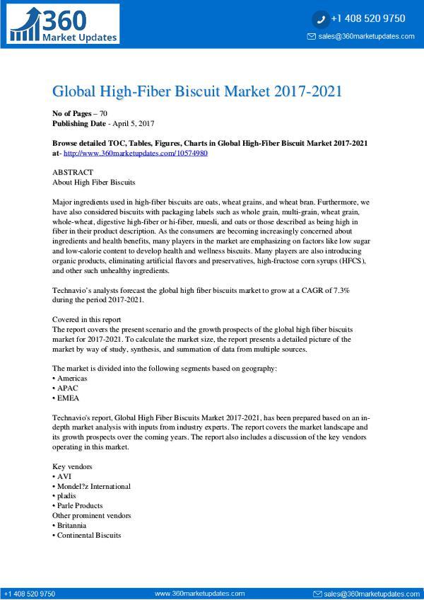 Report- High-Fiber Biscuit Market 2017-2021